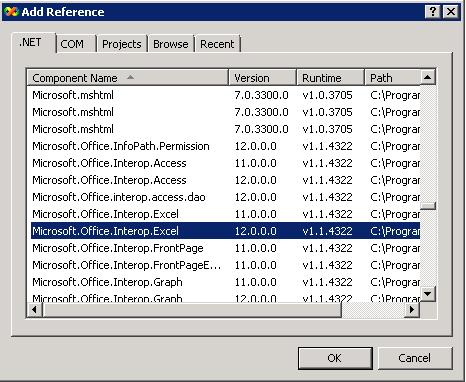 Подключение Microsoft.Office.Interop.Excel
